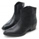 Mens punk goth western geometric stitch pointed toe black cow leather side zip high heels ankle boots US 6.5 - 10.5