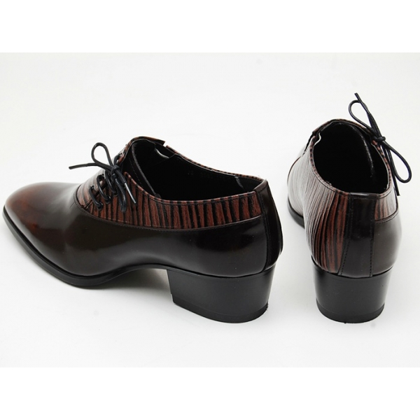 Mens Leather Side Lace Up Dress Shoes