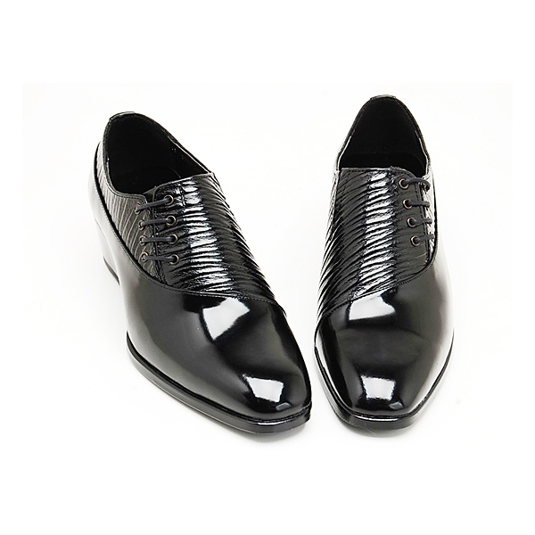Mens Black Leather Side Lace Up Shoes