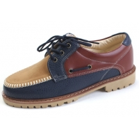 Mens multi color navy synthetic leather U line contrast stitch combat sole eyelet lace up boat shoes U7 - 10.5