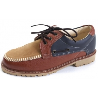 Mens multi color brown synthetic leather U line contrast stitch combat sole eyelet lace up boat shoes U7 - 10.5
