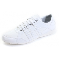 Mens chic white synthetic leather eyelet lace up casual shoes U7 - 10.5