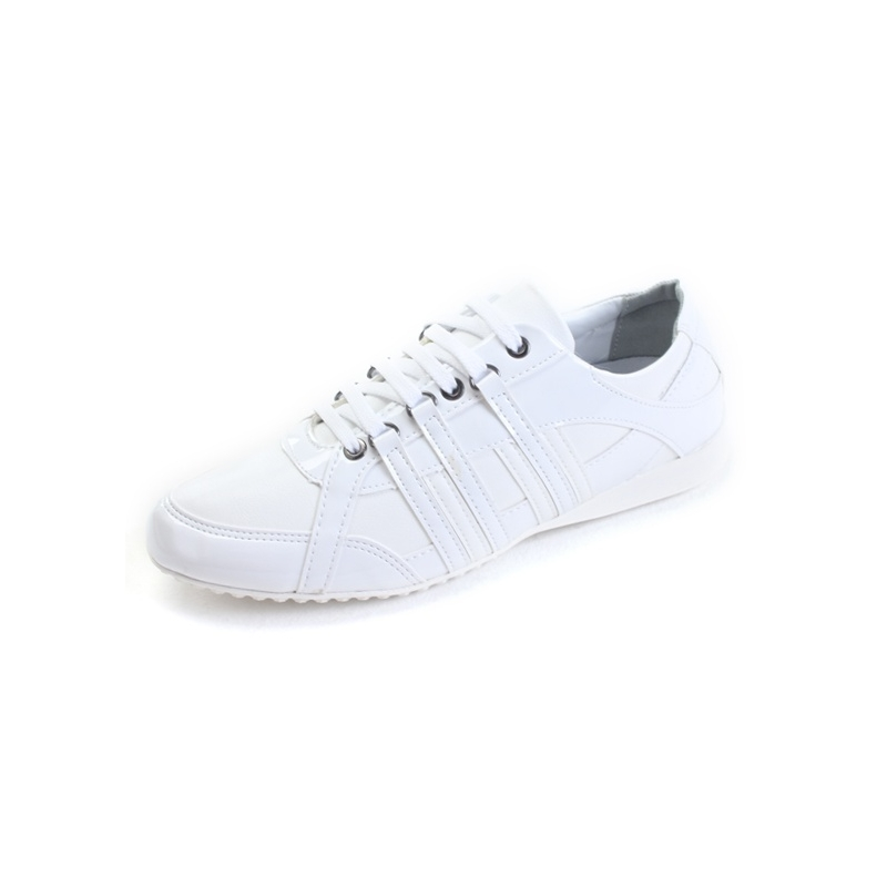 mens chic white synthetic leather eyelet lace up casual shoes