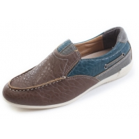 Mens comfort multi color U line stitch brown synthetic leather wedge heel loafers shoes U7 - 10.5