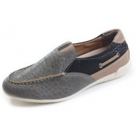 Mens chic comfort multi color U line stitch gray synthetic leather wedge heel loafers shoes US7-10.5