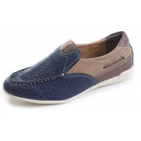 Mens unique multi color U line stitch navy synthetic leather wedge heel loafers shoes U7 - 10.5