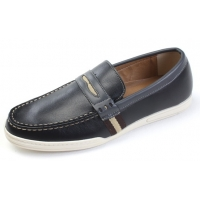 Mens chic U line stitch navy synthetic leather loafers comfort shoes U6.5 - 10.5