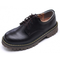 Mens raise toe yellow contrast stitch brown synthetic leather combat rubber sole lace up casual shoes US 4 - 10.5