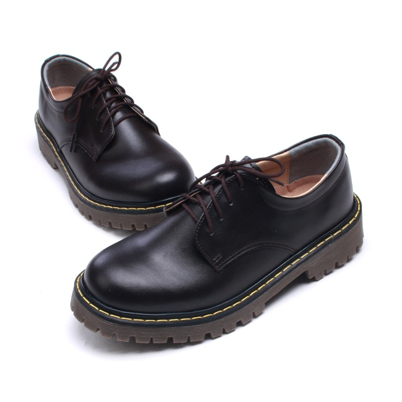 Brown Shoes With Thick Rubber Soles That Lace
