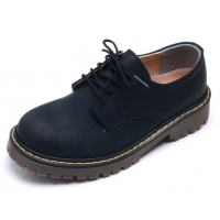 Mens raise round toe yellow contrast stitch matt navy synthetic leather combat rubber sole lace up shoes US 4 - 10.5