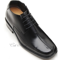"Men 2.6"" UP black real Leather increase height stitch Lace Up dress Shoes made in KOREA US 5.5 - 10"