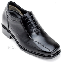 "Men 3.2"" UP black real Leather increase height stitch Lace Up dress Shoes made in KOREA US 5.5 - 10"