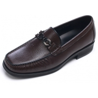 Mens square toe horse curb bit U line stitch brown cow leather loafers high heel dress shoes US 5.5 6 6.5 - 10.5