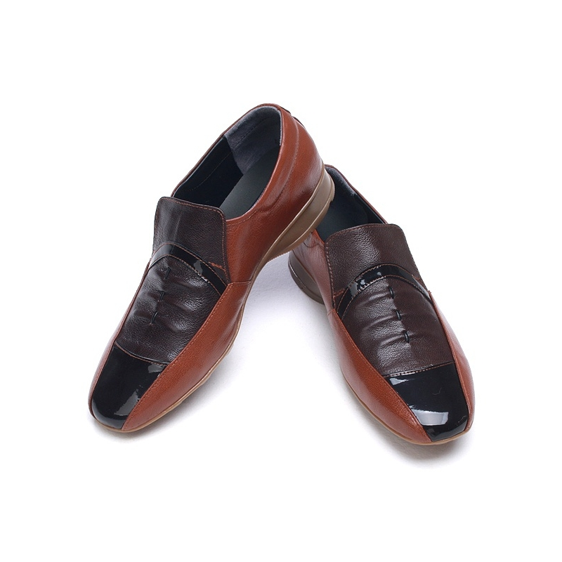 unique wrinkle multi color brown sheepskin loafers comfort dress shoes