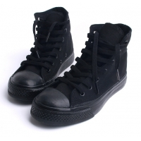 Mens steampunk black fabric comfort fit eyelet lace up rubber sole ankle sneakers fashion shoes US5.5 6 6.5 - 10.5