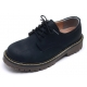 Womens raise round toe contrast stitch lace up combat sole matt Navy shoes US5-10.5
