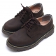Womens raise round toe contrast stitch lace up combat sole matt Brown shoes US5-10.5