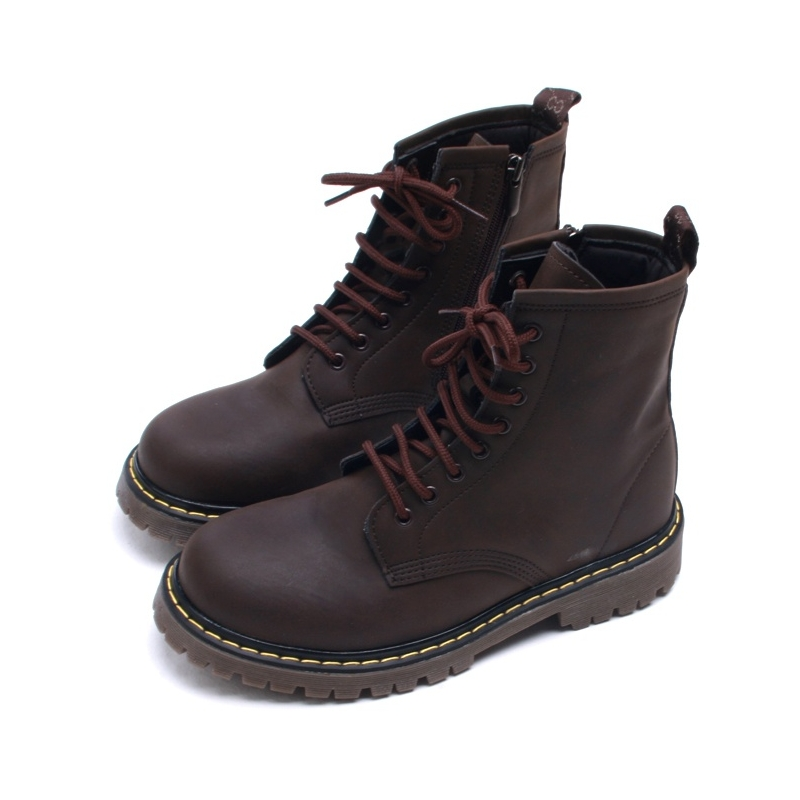 Cool Mens Contrast Stitch Matt Brown Lace Up Side Zip Military Ankle Combat Boots