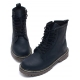 Womens punk goth combat ankle boots round toe contrast stitch lace up side zip closure matt black shoes US5-10.5