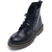 Womens punk military raise round toe yellow contrast stitch lace up side zip black combat ankle boots US5.5-8