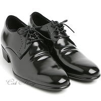 "Men 2.4"" UP black real Leather increase height stitch Lace Up dress Shoes made in KOREA US 5.5 - 10"