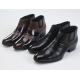 Mens chic two tone brown cow leather band side zip high heel ankle boots US 5.5-10.5