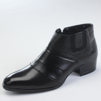 Mens chic cow leather two tonw band side zip high heel ankle boots US 5.5 - 10.5
