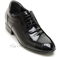 "Men 3.2"" UP black real Leather increase height punching Lace up Shoes made in KOREA US 6.5 - 10"