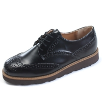Mens wingtips punching contrast stitch lace up wedge heels oxfords increase height hidden insole elevator shoes dress shoes