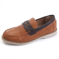 Mens U line embossing contrast stitch increase height hidden insole penny loafers elevator shoes