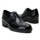 "Mens 2.4"" UP black real Leather increase height punching Lace up Shoes made in KOREA US 6.5 - 10"