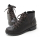 Womens steampunk increase height hidden wedge insole straight tip lace up zip stud combat ankle boots elevator shoes