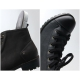Womens steampunk increase height hidden wedge insole straight tip lace up zip stud combat ankle boots elevator shoes Black