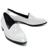 Mens gray loafers synthetic leather minimal shoes made in KOREA US 5.5 - 10.5
