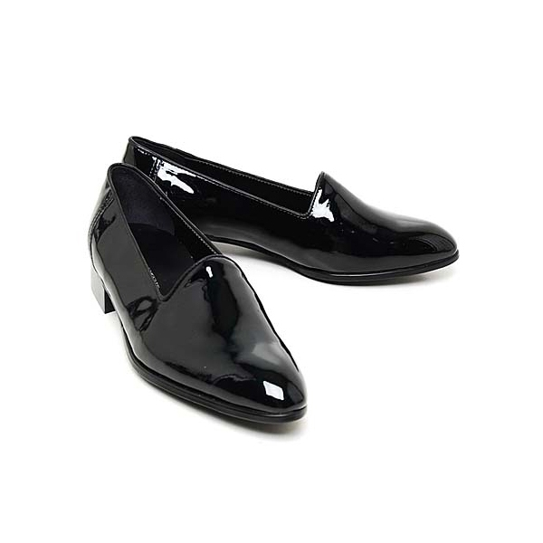 Men's glossy black loafers
