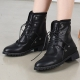 Women's round toe combat sole unique lace ups metal eyelets piping detailed long ankle boots