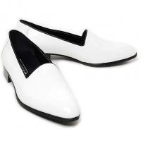 Mens white loafers synthetic leather minimal shoes made in KOREA US 5.5 - 10.5