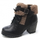 Womens raise round toe vintage fur belt side zip closure bold high heels combat sole ankle boots