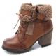 Womens raise round toe vintage fur belt side zip closure bold high heels combat sole ankle boots Brown