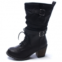 Womens steampunk two belt strap wide entrance eyelet lace up side zip combat sole med square heels mid calf boots black