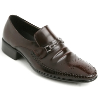 Mens real cow leather Punching stitch Loafers buckle shoes brown made in KOREA US 5.5 - 10.5