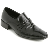 Mens real cow leather Punching stitch Loafers buckle shoes black made in KOREA US 5.5 - 10.5