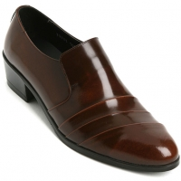 Mens real leather wrinkle loafers 1.57 inch heels shoes brown made in KOREA US 6.5 - 10.5