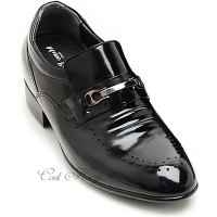 "Men 3.2"" UP black real cow Leather increase height punching Studded Shoes made in KOREA US 6.5 - 10"