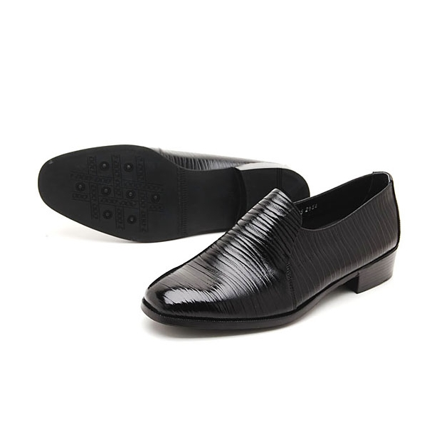 mens shoes real leather wrinkle slip on dress loafers