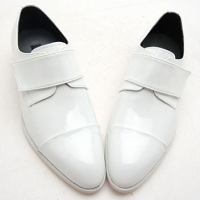 Mens white velcro synthetic leather slip on dress shoes made in KOREA US 5.5 - 10