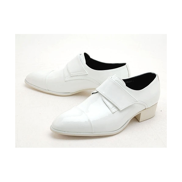 Mens White Velcro Synthetic Leather Slip On Dress Shoes Made In Korea Us 5 10