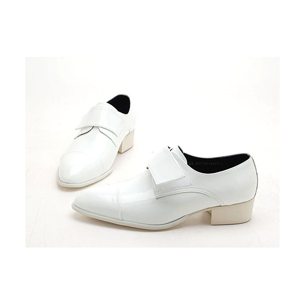 mens white velcro synthetic leather slip on dress shoes