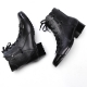 Mens pointed toe straight tip cow leather eyelet lace up side zip low heels combat ankle shoes Black