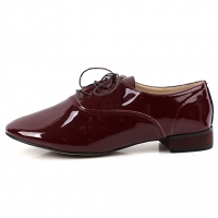 womens wear with oxford shoes celebrity lace up low heel enamel reds